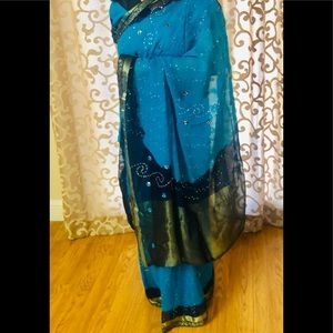 Beautiful turquoise and navy blue saree